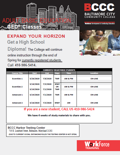 Adult Basic Education class schedule